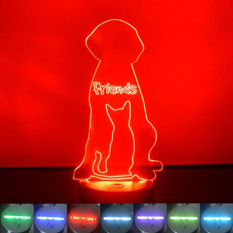 Best Friends Cat and Dog Colour Changing LED Acrylic Light - Suave Petal