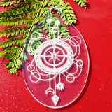 6 PK Compass Oval Clear Acrylic Christmas Decorations - Suave Petal