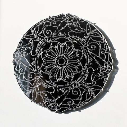 Mandala Hedgehog Circle Engraved Acrylic Mirror