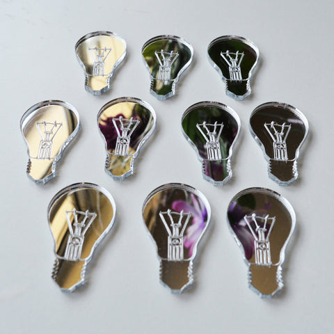 Light Bulb Idea Mini Craft Sized Acrylic Mirrors (10Pk)