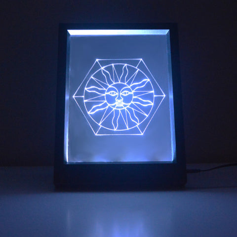 Sun on Hexagon Stained Glass effect Colour Changing RC LED Mirror Light Frame - Suave Petal