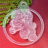 6 PK Flower Girl Day of the Dead Skull Clear Acrylic Christmas Decorations - Suave Petal