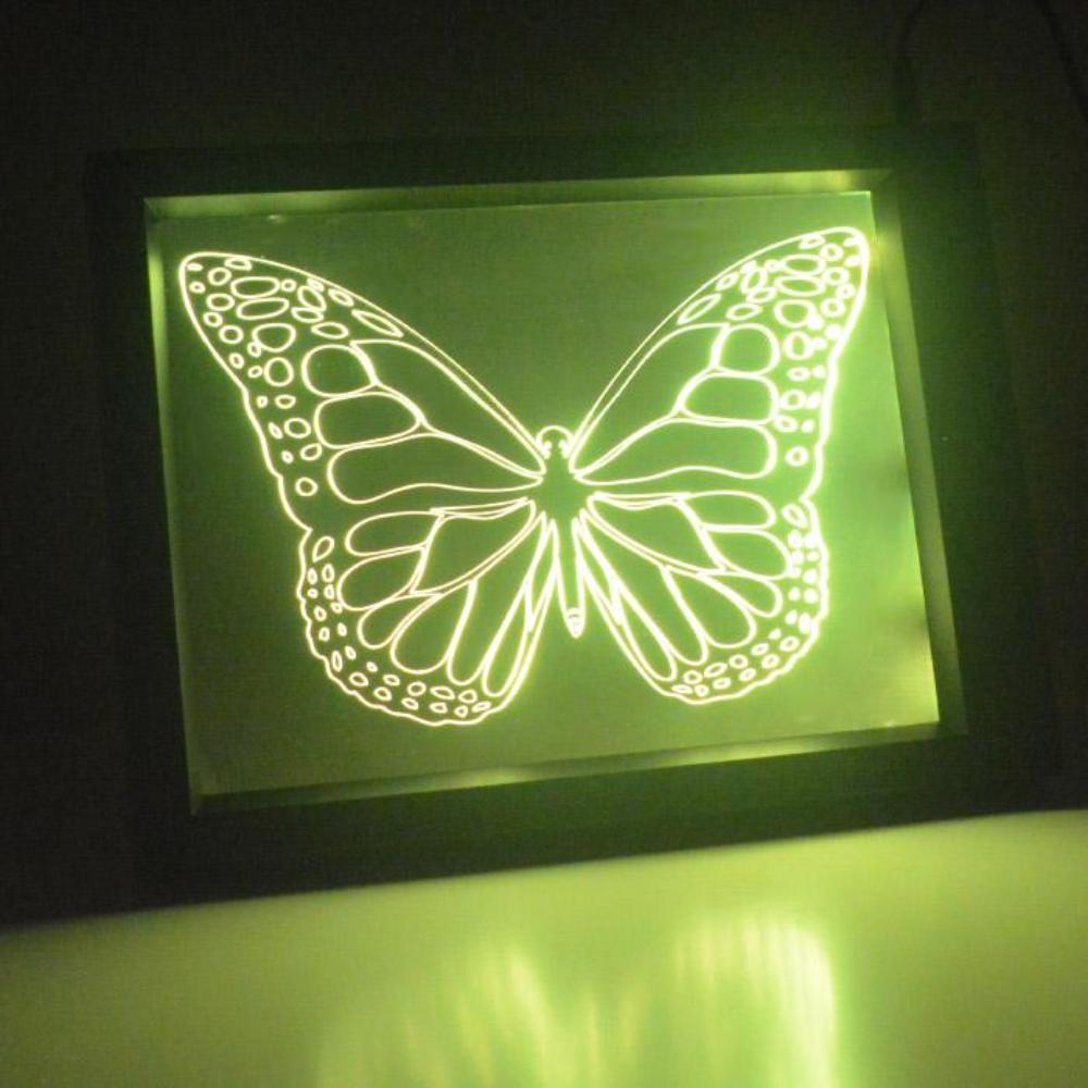 Detailed Butterfly Colour Changing RC LED Mirror Light Frame - Suave Petal