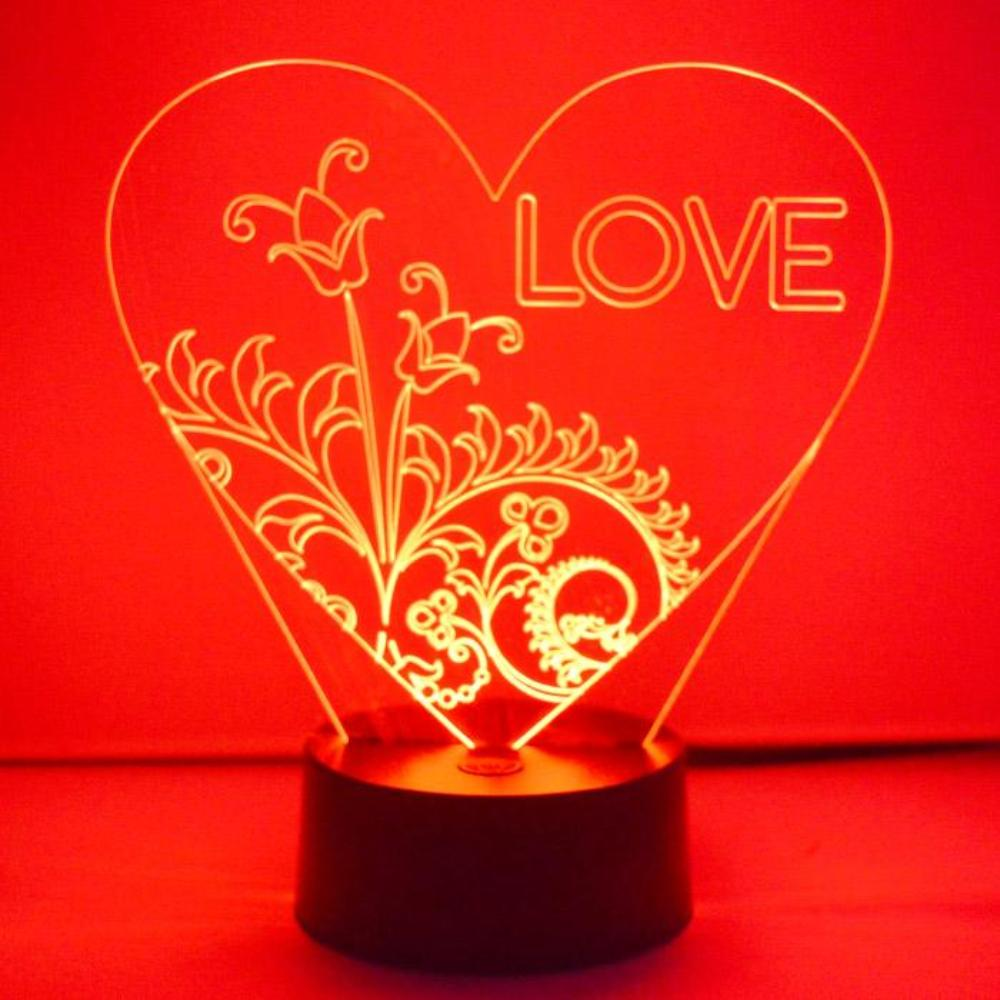 LOVE Text Floral Heart Colour Changing LED Acrylic Light - Suave Petal
