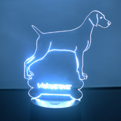 Weimaraner Dog Colour Changing LED Acrylic Light - Suave Petal