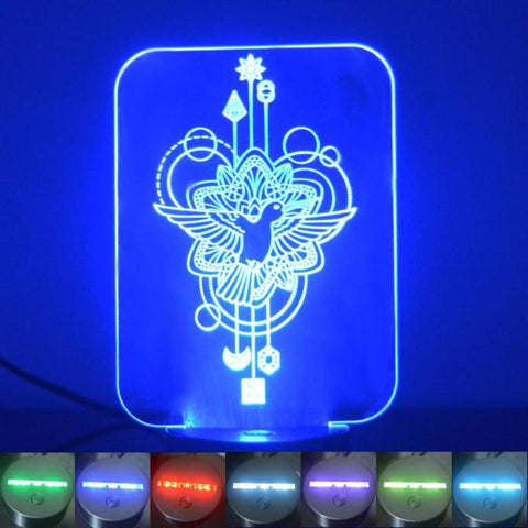 Flying Bird Decorative Rectangle Colour Changing LED Acrylic Light - Suave Petal