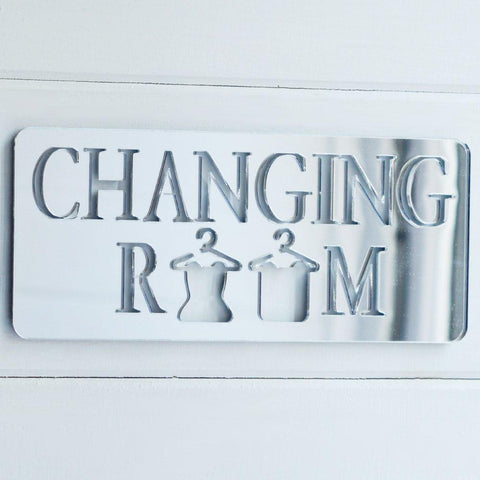 Changing Room with Hanging Clothes Acrylic Mirrored Door Sign - Suave Petal