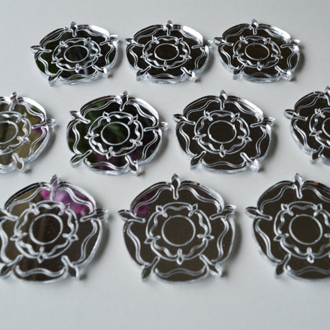 Tudor Rose Mini Craft Sized Acrylic Mirrors (10Pk) - Suave Petal