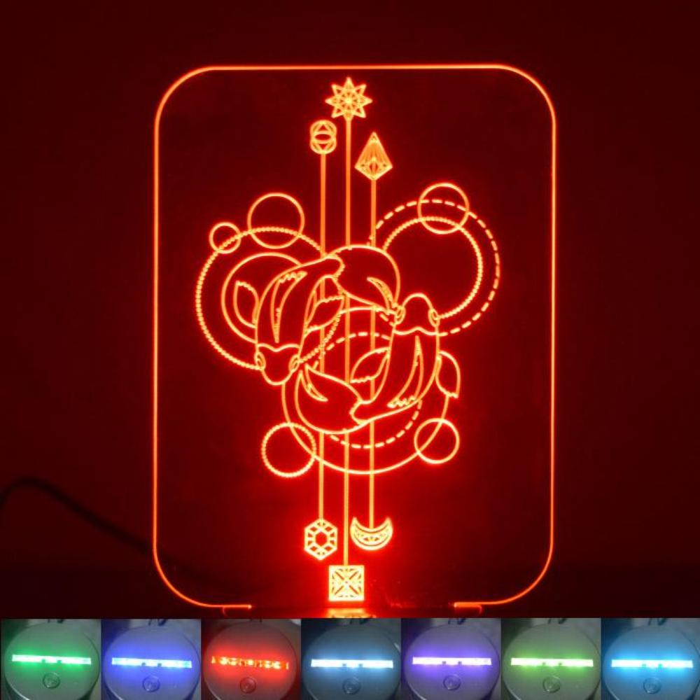Circle Fish Decorative Rectangle Colour Changing LED Acrylic Light - Suave Petal