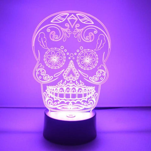 Day of the Dead Cheeky Candy Skull Colour Changing LED Acrylic Light - Suave Petal