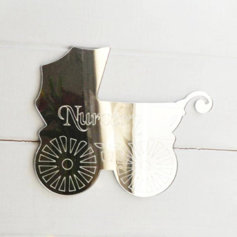 Nursery Old Baby Pram Engraved Acrylic Mirror Sign