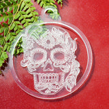 6 PK Feather Girl Candy Skull Acrylic Christmas Decorations - Suave Petal