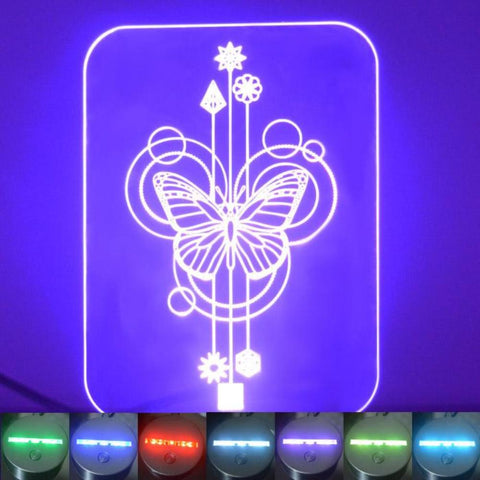 Butterfly Decorative Rectangle Colour Changing LED Acrylic Light - Suave Petal