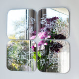 Swirls and Stars Alphabet Square Acrylic Mirror Letter F - Suave Petal