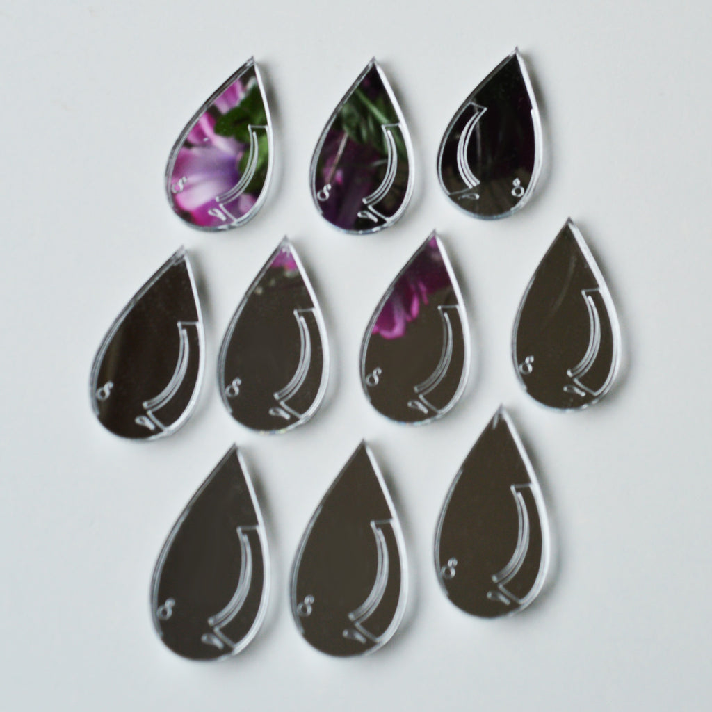 Water Droplet Raindrop Mini Craft Sized Acrylic Mirrors (10Pk) - Suave Petal