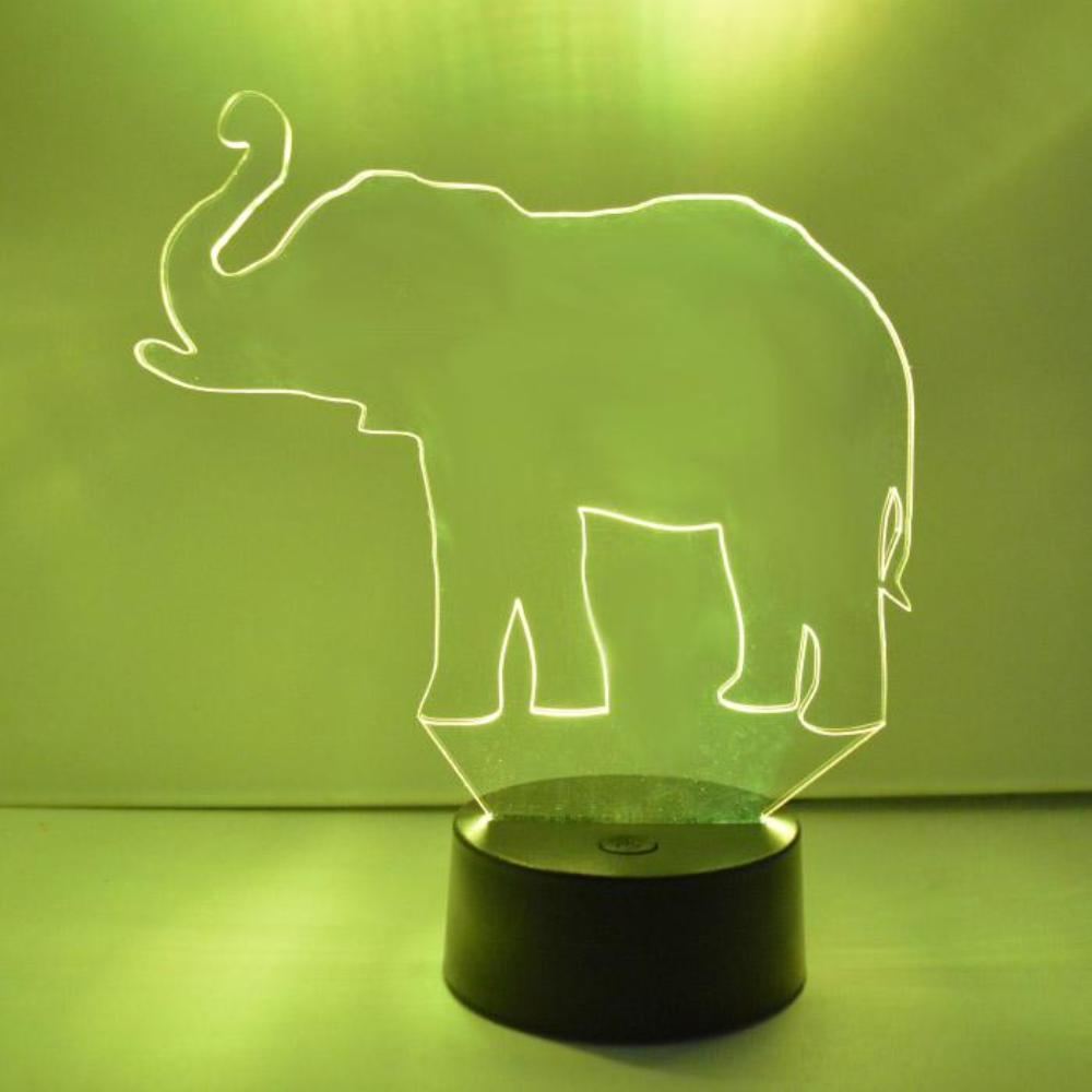 Lucky Elephant Trunk-Up Colour Changing LED Acrylic Light - Suave Petal