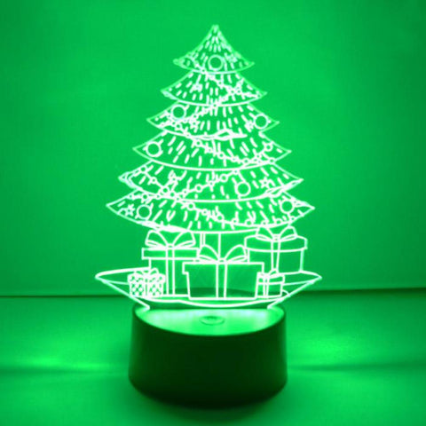 Christmas Tree and Presents LED Colour Changing Acrylic Light - Suave Petal