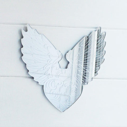 Angel Wings and Heart Engraved Acrylic Mirror - Suave Petal
