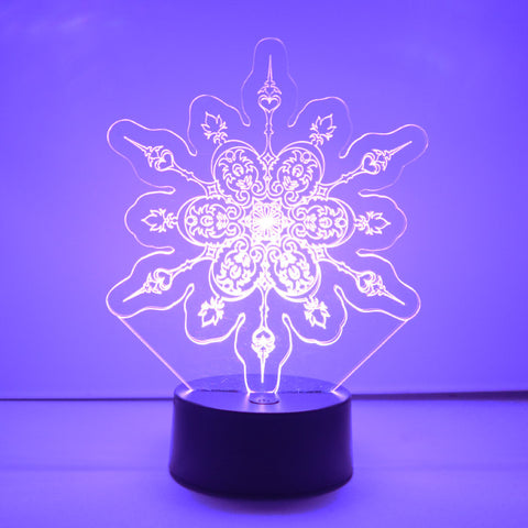 Winter Snowflake Colour Changing LED Acrylic Light - Hearts - Suave Petal