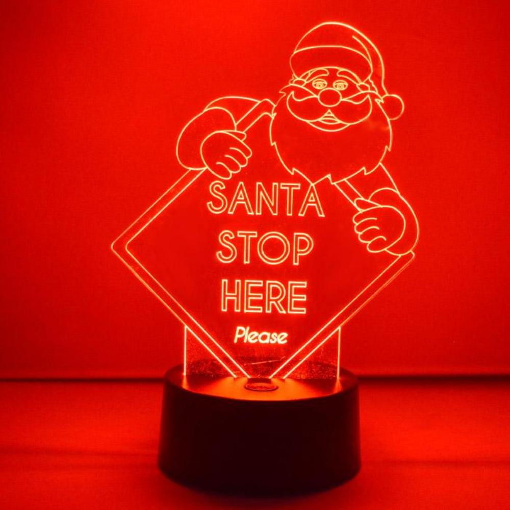 Santa Stop Here Sign Colour Changing LED Acrylic Light - Suave Petal