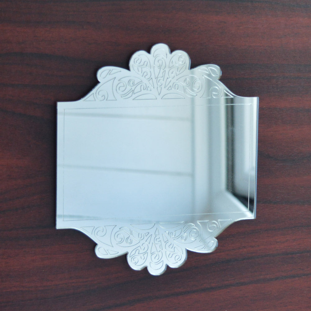 Antique Floral Rectangle Frame Engraved Acrylic Mirror - Suave Petal
