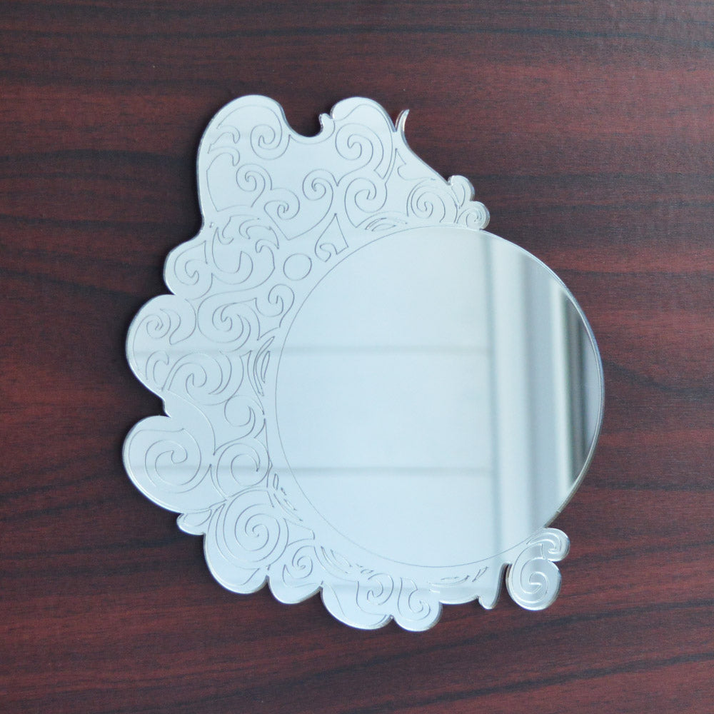 Antique Floral Circle Engraved Acrylic Mirror - Suave Petal