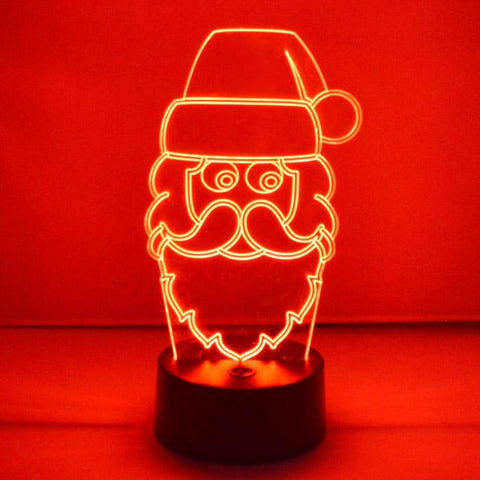Jolly Santa Head Christmas Colour Changing LED Acrylic Light - Suave Petal