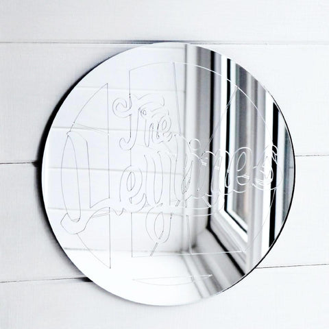 The Leylines Circle Logo and Name Engraved Acrylic Mirror
