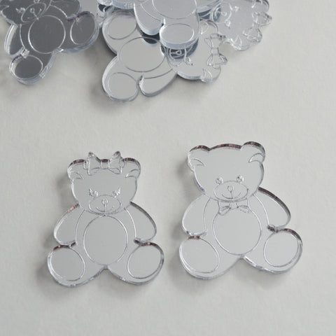 Mr and Mrs Bear Mini Craft Sized Acrylic Mirrors (10Pk)