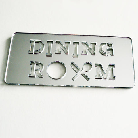 Dining Room Plate and Cutlery Acrylic Mirrored Door Sign