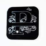 Swirls and Stars Alphabet Square Acrylic Mirror Letter P - Suave Petal