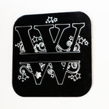 Swirls and Stars Alphabet Square Acrylic Mirror Letter W - Suave Petal