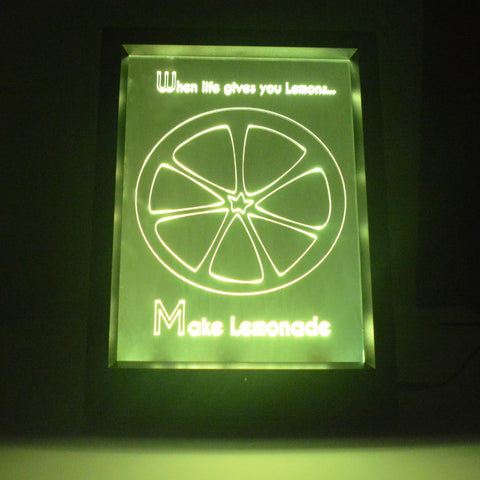 When Life gives you Lemons Quote Colour Changing RC LED Mirror Light Frame