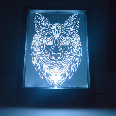 Decorative Wolf Head Colour Changing RC LED Mirror Light Frame - Suave Petal