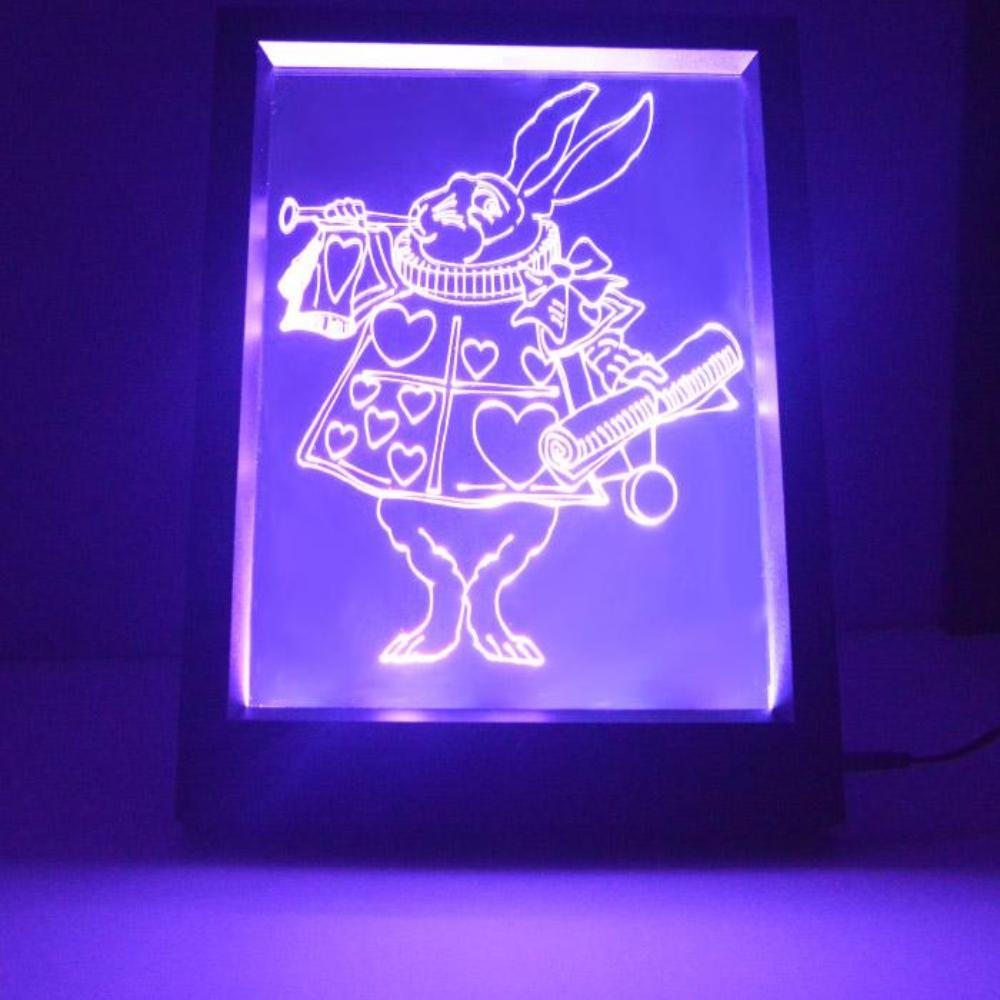 Alice in Wonderland White Rabbit Colour Changing RC LED Mirror Light Frame - Suave Petal