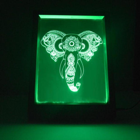 Engraved Elephant Head Colour Changing RC LED Mirror Light Frame - Suave Petal
