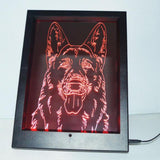 German Shepherd Face Colour Changing RC LED Mirror Light Frame - Suave Petal