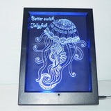 Jellyfish and Quote Colour Changing RC LED Mirror Light Frame - Suave Petal