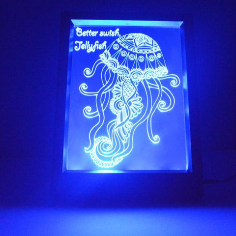 Jellyfish and Quote Colour Changing RC LED Mirror Light Frame