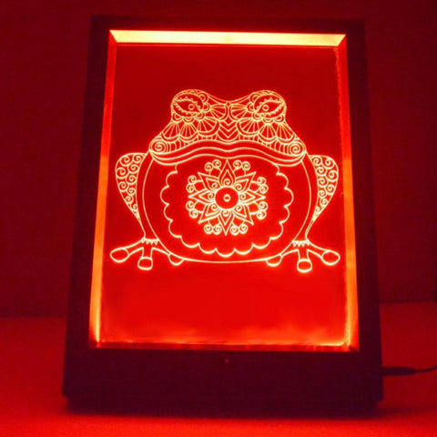 Mandala Frog Colour Changing Remote Control LED Mirror Light Frame - Suave Petal