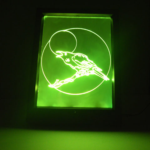 Talking Moon Crow Colour Changing Remote Control LED Light Frame - Suave Petal