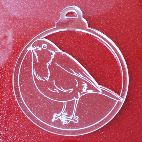 6 Pk Robin Red Breast Bird Clear Acrylic Christmas Decorations