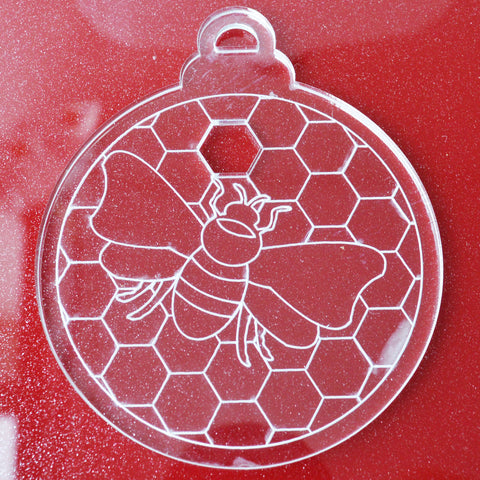 6 Pk Bee on Honeycomb Clear Acrylic Christmas Decorations