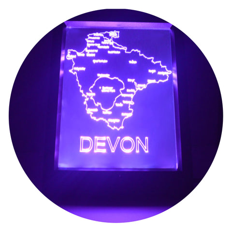 Devon Map (UK) Colour Changing RC LED Mirror Light Frame