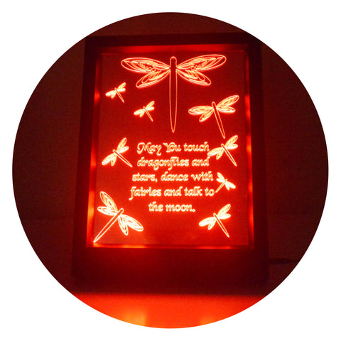 Dragonfly and Quote Colour Changing RC LED Mirror Light Frame