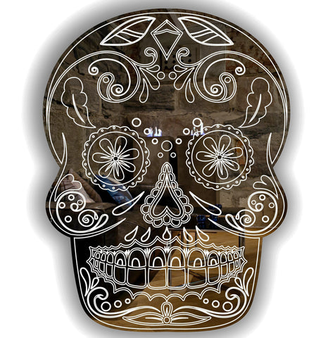 Day of The Dead Cheeky Candy Skull Acrylic Mirror