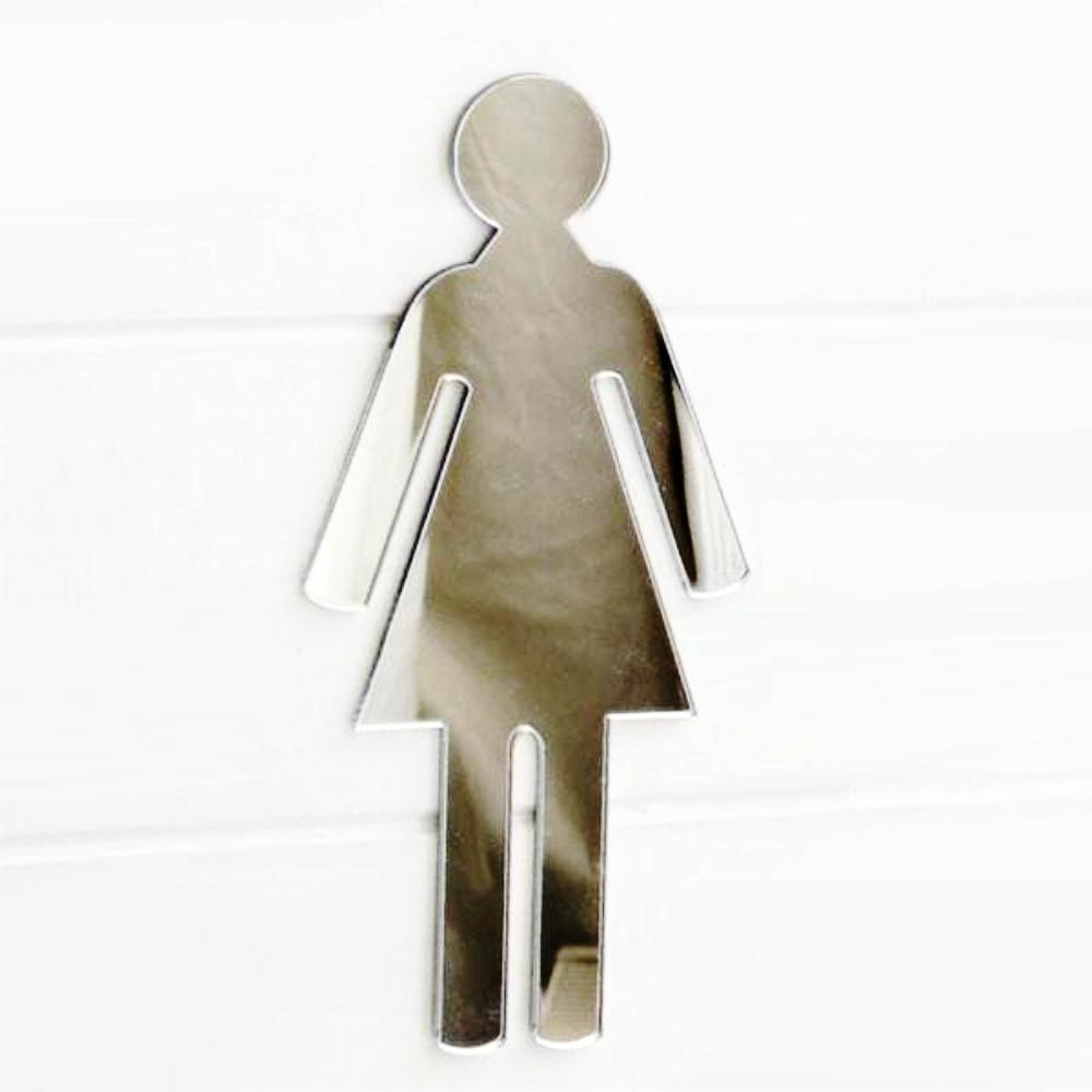 Female Toilet WC Door Sign in Acrylic Mirror - Suave Petal