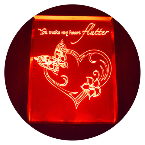 Flutter Butterfly Heart Colour Changing RC LED Mirror Light Frame - Suave Petal