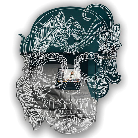 Girl Feather Candy Day of The Dead Candy Skull Acrylic Mirror