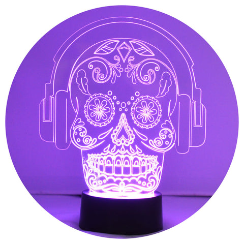 Candy Skull with Headphones Colour Changing LED Acrylic Light - Suave Petal